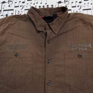 Harley Davidson Alaska Men's Brown Button Down